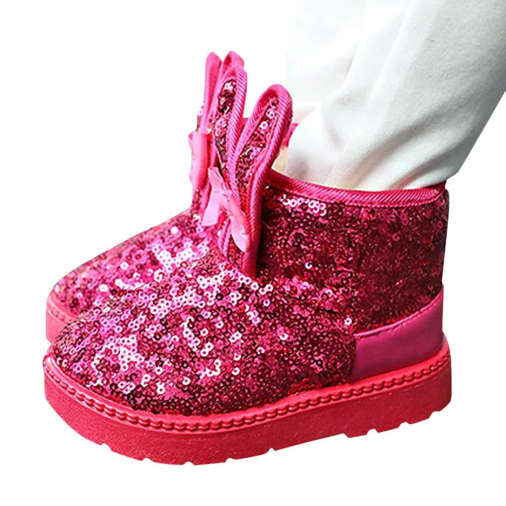 cinnamou - Kleinkind Baby Mädchen Warm Weiche Sohlen Krippe Schuhe Stiefel Winterstiefel,Kaninchen Ohr Pailletten Schnee Stiefel Schuhe