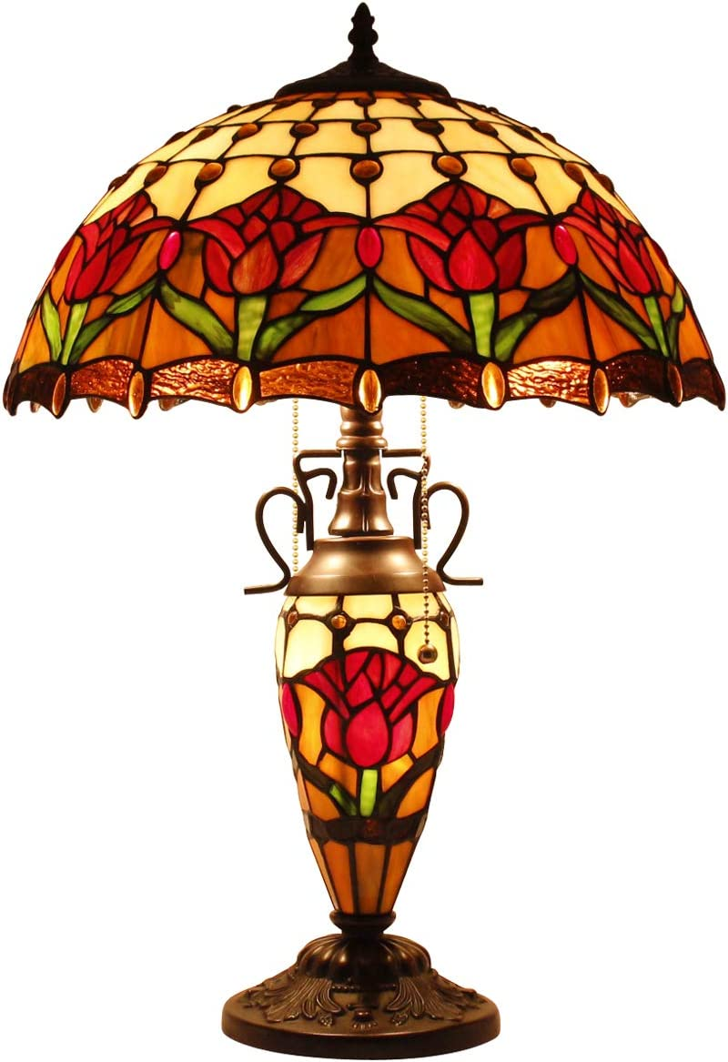 Tiffany Style Reading Table Beside Lamp Light 24 inch Tall Red Tulip Flower Stained Glass Shade 2E26 1E12 Bulb Night Base for Girlfriend Living Room Bedroom S030 WERFACTORY