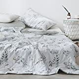 AMWAN Lightweight Floral Summer Quilt Country Style Leaves Fruits Printed Duvet Comforter 100% Cotton Girls Quilt Coverlet Reversible Striped Bedspread Vintage Blanket for Bed Couch Sofa, 200x230cm