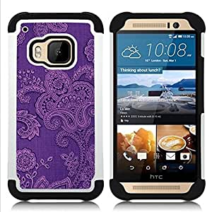 """Pulsar ( Modelo del papel pintado floral de la tela"""" ) HTC One M9 /M9s / One Hima híbrida Heavy Duty Impact pesado deber de protección a los choques caso Carcasa de parachoques [Ne"""