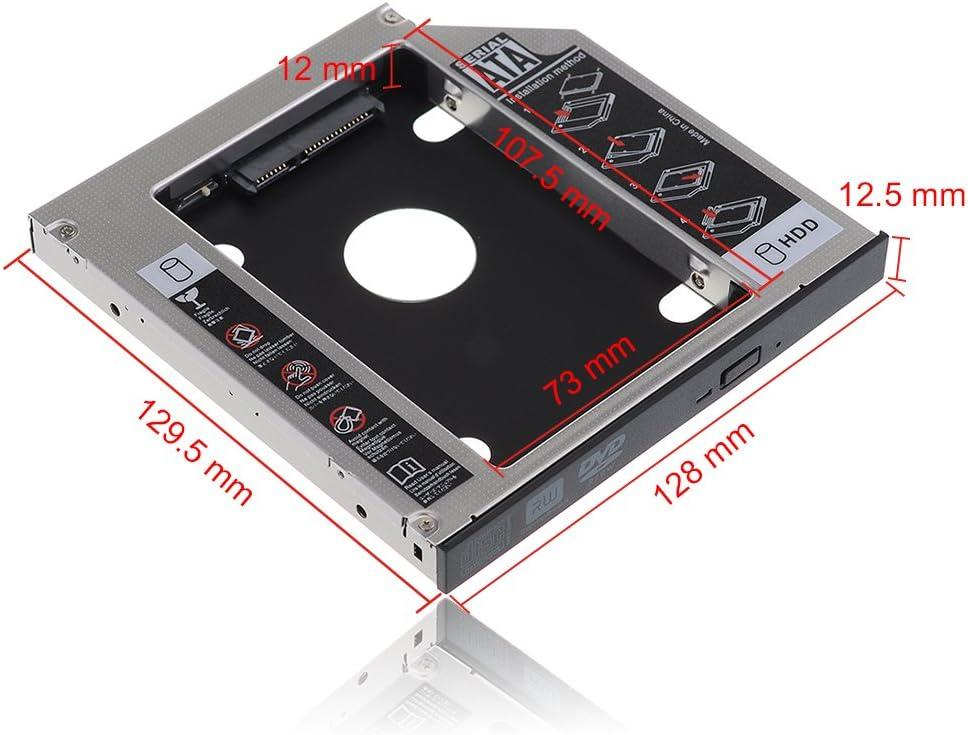 TopElek Universell SATA 3.0 HDD SSD Festplatte HD Caddy Tasche für 12,7 mm 9,5 mm Laptop Ersatz von CDDVD ROM Optical Bay (2. Festplatte)