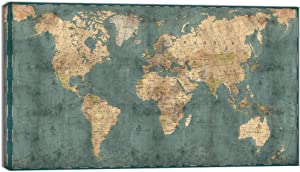 Visual Art Decor XLarge Blue Retro World Map Canvas Prints Atlas Framed and Stretched Map Wall Art Decor for Travel Pin Marks Map Office Room Wall Decor