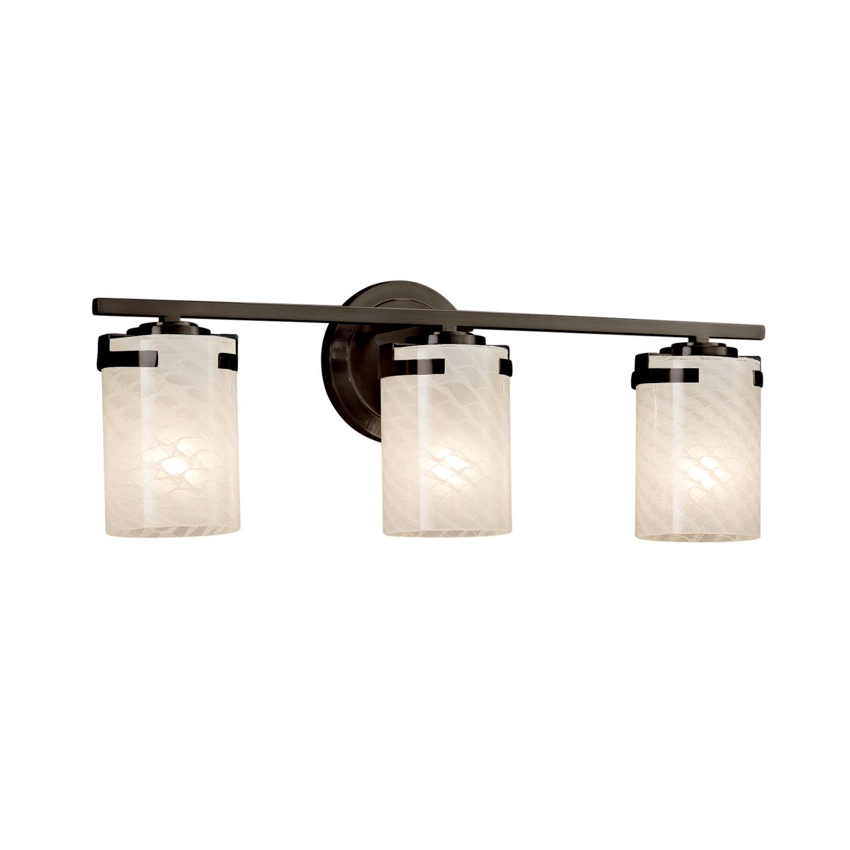 Cylinder with Flat Rim Artisan Glass Shade in Weave Dark Bronze Finish Atlas 3-Light Bath Bar Fusion