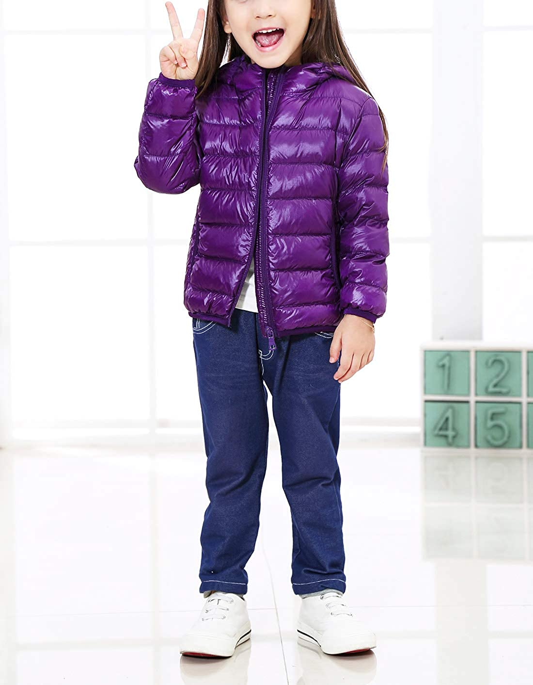 Boys Girls Winter Outfits Lightweight Water-Resistant Packable Hooded Children Winter Casual Durable Puffer Jacket Dark Purple