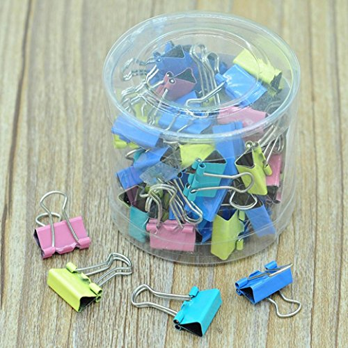 Ecosin Fashion 60x Colorful Metal Paper File Ticket Binder Clips 15mm Office School Supply Clip (Fashion Paper Clips)