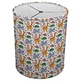 Hardback Linen Drum Cylinder Lamp Shade 8'' x 8'' x11'' Spider Construction [ African Animals Giraffe ]