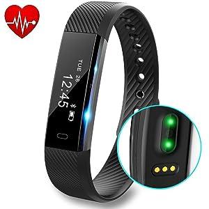 Fitness Tracker, DeYoun Bracciale Fitness Intelligente Bluetooth 4.0 Activity Tracker con Cardiofrequenzimetro / Monitoraggio Sonno e Calorie IP67 Pedometro Smartwatch per IOS e Android Smartphone (Nero)