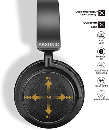 Hybrid Active Noise Cancelling Headphones with Touch Control, AKSONIC Bluetooth Over Ear Stereo HiFi Headset with Microphone Proximity Sensor, aptX LL, Comfortable Earpads for Work Travel Flight