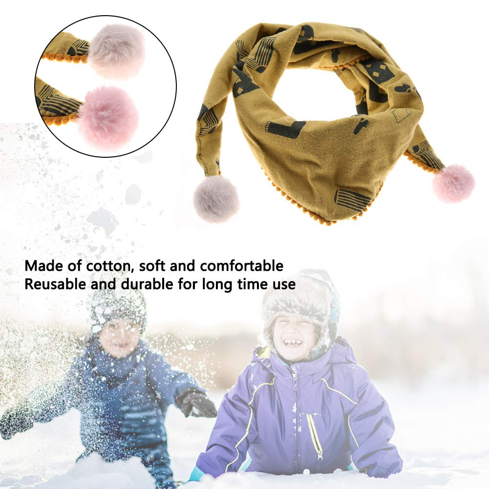 9# Child Cotton Scarf Comfortable Windproof Breathable All-Match Triangle Kid Neck Scarf with Hairball for Boys Girls
