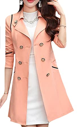 3988d666b19 Pandapang Womens Double Breasted Slim Lapel Midi Trench Coat Jackets Pink  XXS