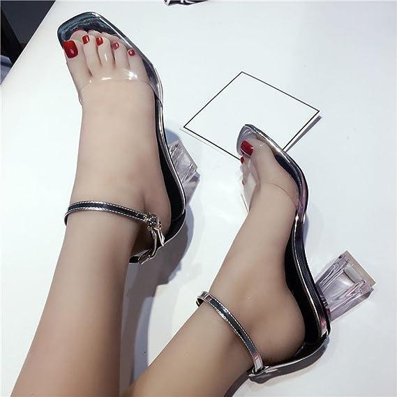 Morden Été Sandales FemmeRobemon Transparent Sandals Cheville Chaussure Femme Talon Hauts Parti Open Sandales Nu Pieds Sandales Fille Adolescente