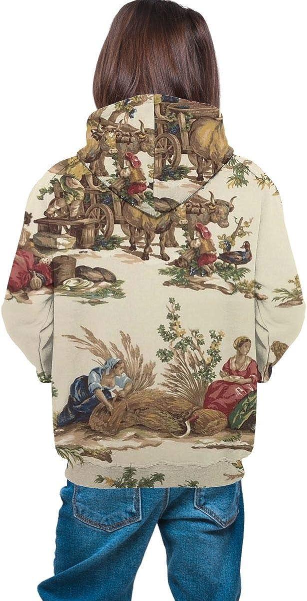 Ts Home Art Farm Girls Hooded Sweate Pullover Drawstring Pocket Breathable Coat for Kid