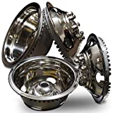 Wheel Simulators for Truck's Van's RV's (Pack of 4) 16 Inch Snap On, 304L Stainless Steel Hub-Caps