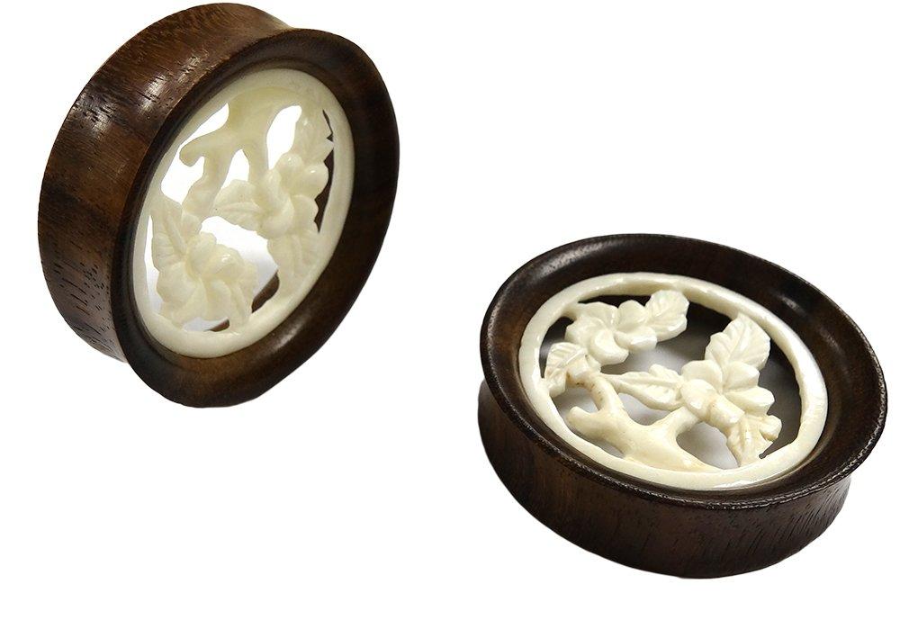 JewelryVolt NOG-157 Pair Double Flare Sawo Wood FLORAL BLOOMING FLOWERS Ear Plug Gauges (28mm)