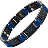 Blue Carbon Fiber Titanium Magnetic 4 Element Bracelet Double Strength Adjusting Tool and Gift Box Included By Willis Judd