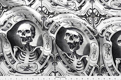(Spoonflower Crossbones Fabric Skulls Bones Crossbones Swords Banners Frames Hourglasses Crowns Kings Skeletons Monochrome by Raveneve Printed on Eco Canvas Fabric by The Yard)