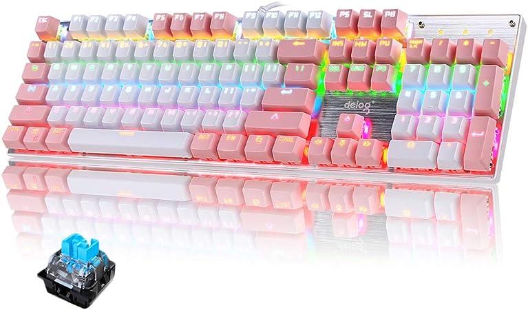 Teclado mecánico Gaming RGB Switch Blue 104 Teclas Disposición Ergonómica 9 Modos de iluminación RGB para PC/Mac con Windows - Rosa