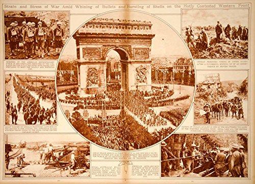 1923 Rotogravure World War I Western Front Gas Masks Prisoners Arc De Triomphe   Original Rotogravure