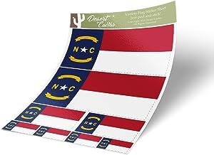 North Carolina NC State Flag Sticker Decal Variety Size Pack 8 Total Pieces Kids Logo Scrapbook Car Vinyl Window Bumper Laptop V