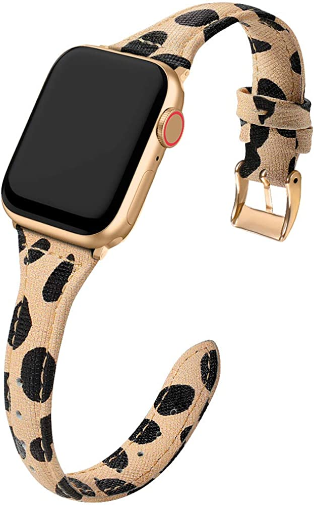 MARGE PLUS Compatible Apple Watch Band 38mm 40mm 42mm 44mm Women, Slim Genuine Leather Watch Strap Replacement for iWatch SE Series 6 5 4 3 2 1