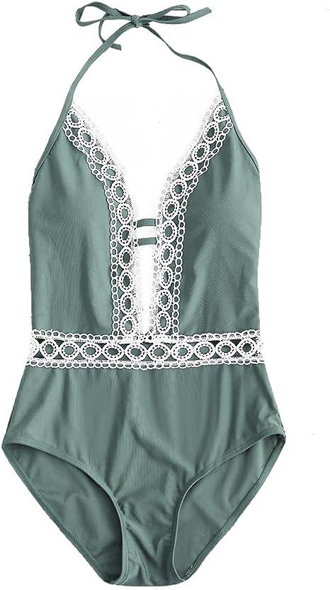 Amazon.com: Monokini para mujer, de encaje floral, Halter ...