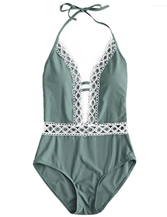 a08fd93825d18 Womens One Piece Floral Lace Halter Push-up Padded Monokini Deep V Neck  Swimsuit (