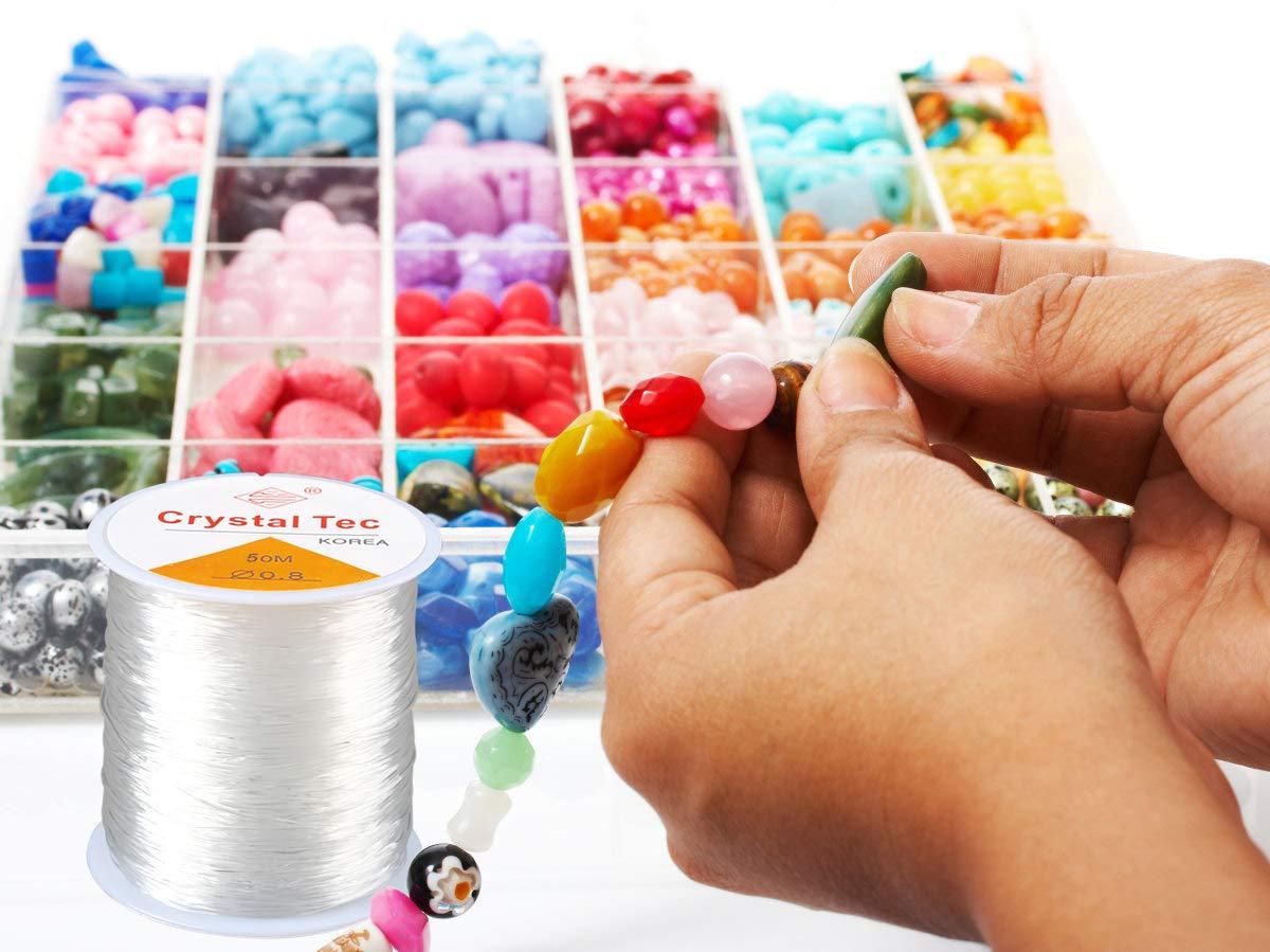 HONGXIN-SHOP Filo Gioielli 0.8 mm Filo Elastico di Cristallo di Trasparente Misto per Fare Perline Braccialetti e Collane Fai da Te 50m