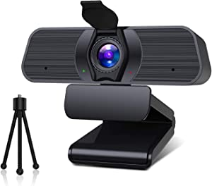 2K Full HD Webcam with Microphone &Privacy Cover &Tripod, Focal Length Adjustable Web Cam,115° Angle Computer Camera,Noise Reduction Web Camera,Streaming Camera for Video Teaching