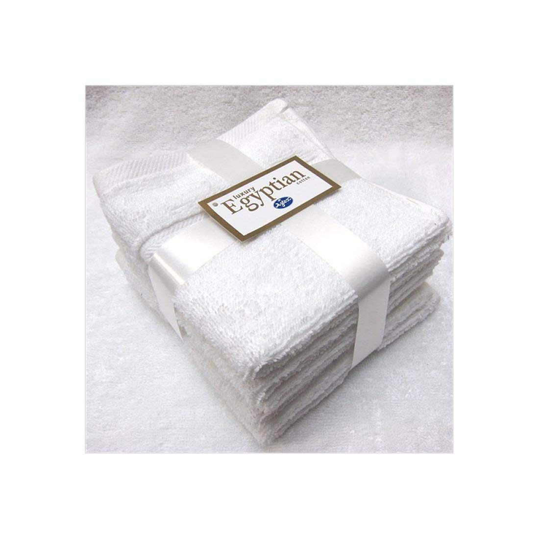 TowelsRus 100% Egyptian Super Soft Cotton Beauty Face Flannels Towels Pack of 5 Luxury White Face Cloths, 550gsm