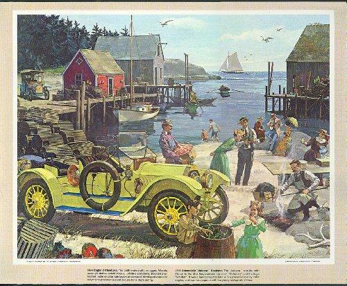 1912 Oldsmobile Autocrat Roadster clam bake Humble Oil calendar print 1960s