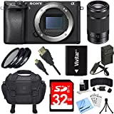 Sony Alpha a6300 ILCE-6300 4K Mirrorless Camera Body 55-210mm Zoom Lens Bundle includes a6300 Camera Body, 55-210mm Zoom Lens, 49mm Filter Kit, 32GB SDHC Memory Card, Beach Camera Cloth and More!