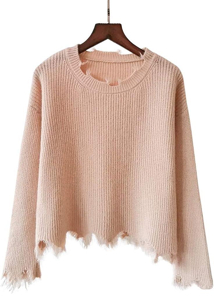 Girls Frayed Sweater Crew Neck College Style Irregular Hem Sweet Alpaca Simple