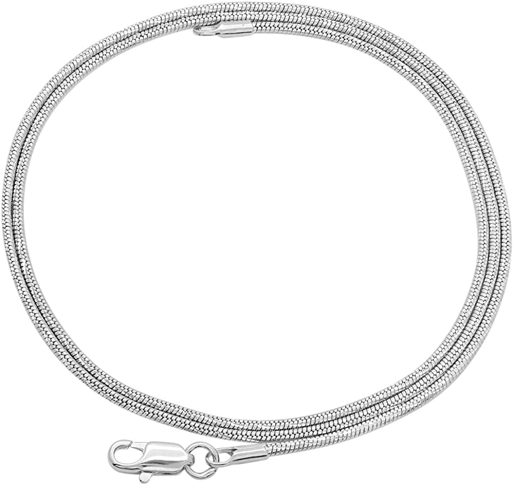The Bling Factory Thin 1.5mm Heavy Rhodium Plated Diamond-Cut Rounded Snake Link Chain