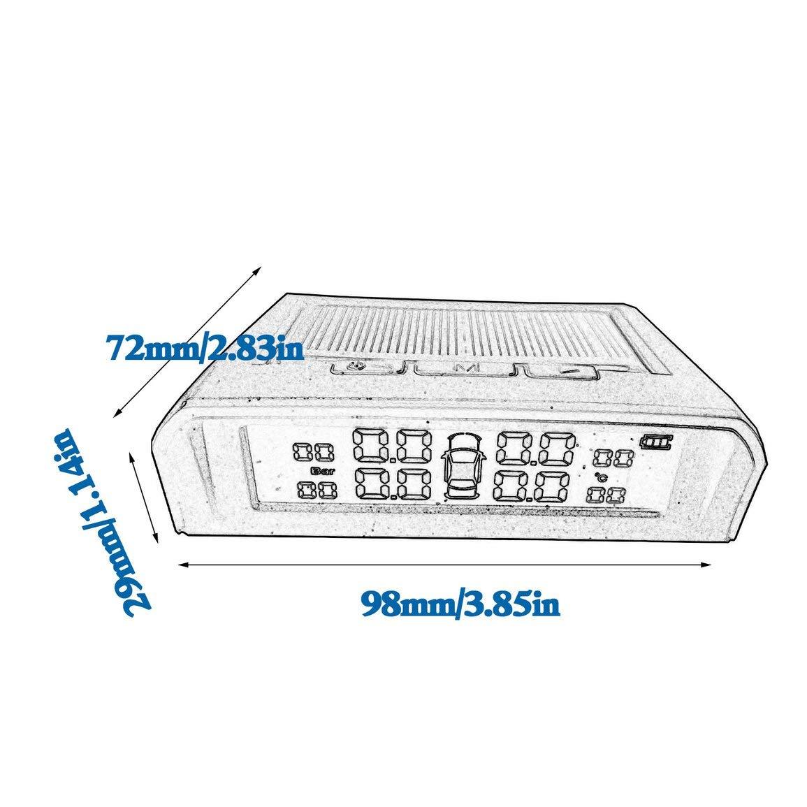 para Steelmate Tp-s1i Tpms presi/ón de los neum/áticos Monitor de Pantalla de 4 sensores internos Que Funcionan con Solar Sistema Inal/ámbrico