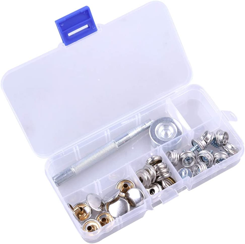 DOITOOL kit de cierres a presión de cuero botones de presión de metal de 10 mm para trabajo pesado botones de presión con herramientas de instalación de 2 piezas