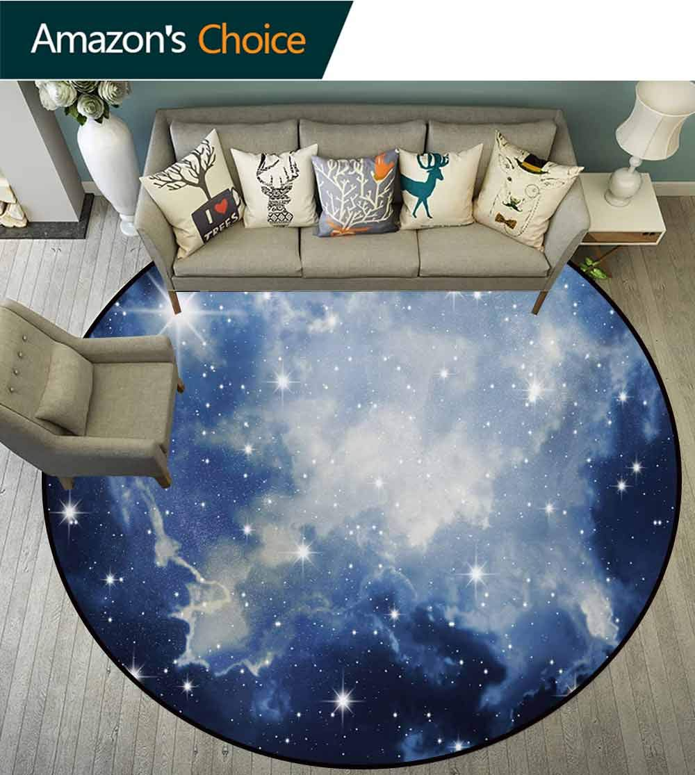 Constellation Machine Washable Round Bath Mat,Blue Galaxies In Night Sky Celestial Image Stars Fog Magical Non-Slip No-Shedding Bedroom Soft Floor Mat,Diameter-71 Inch Dark Blue Pale Blue White by RUGSMAT (Image #3)
