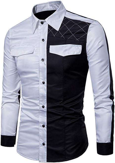 FAMLYJK Camisa De Botones De Moda para Hombre Slim Fit ...