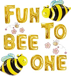 JeVenis Set of 3 Fun to Bee One Balloons Fun to Bee One Banner Happy Bee Day Decoration Bumble Bee First Birthday Decor Bumble Bee Party Decoration