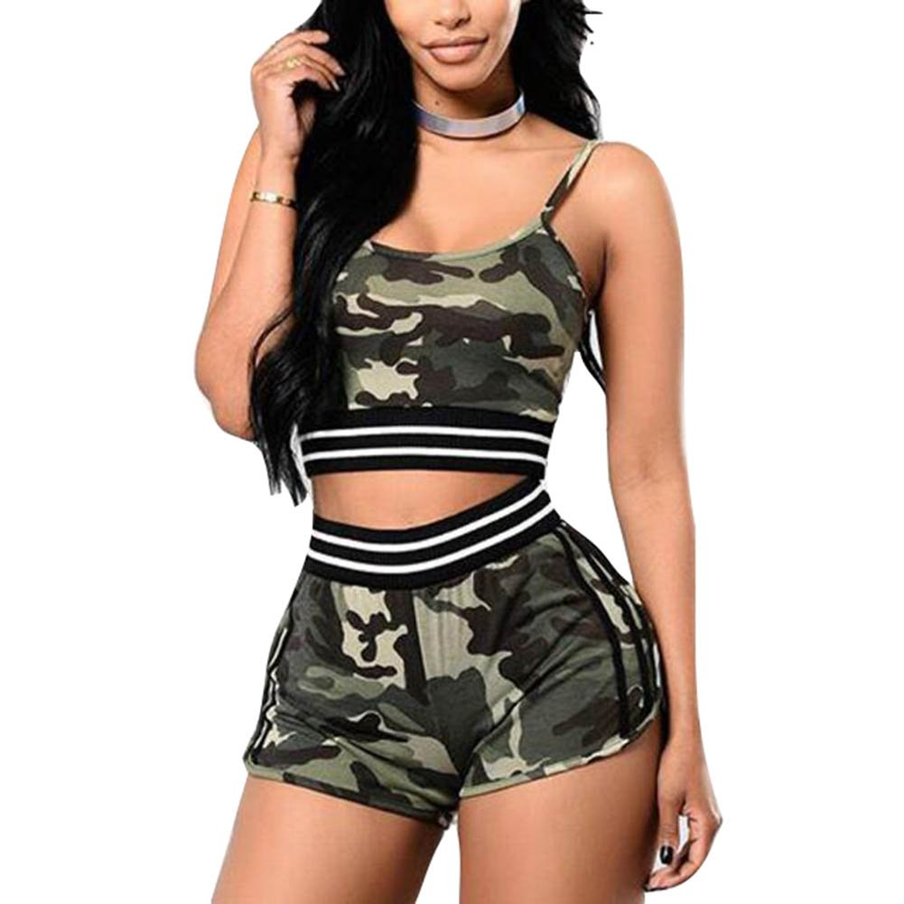 Juleya Frauen Trainingsanzug Set 2 Stück Camouflage Ärmellos Sportbekleidung Casual Mid Waist T-Shirt Gym Yoga Workout Laufbekleidung Sport Wear Suit