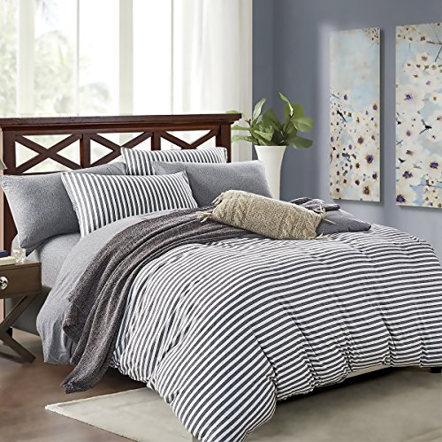 (PURE ERA Striped Duvet Cover Set Jersey Knit Cotton Soft Comfy 3 Pieces Home Bedding Sets Reversible 1 Duvet Cover with 2 Pillow Shams Grey Queen)