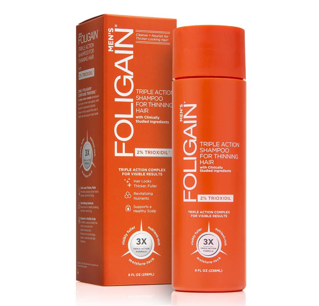 Foligain Triple Action Shampoo For Thinning Hair For Men with 2% Trioxidil | Hair Stimulating Shampoo | Men's Volumizing Shampoo (8oz)
