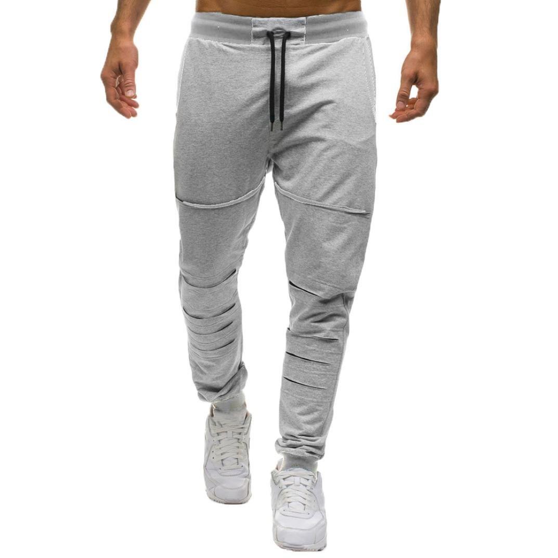WUAI Men's Fashion Relaxed Elastic Waist Holes Gym Sports Cargo Pant Casual Trousers WA-802