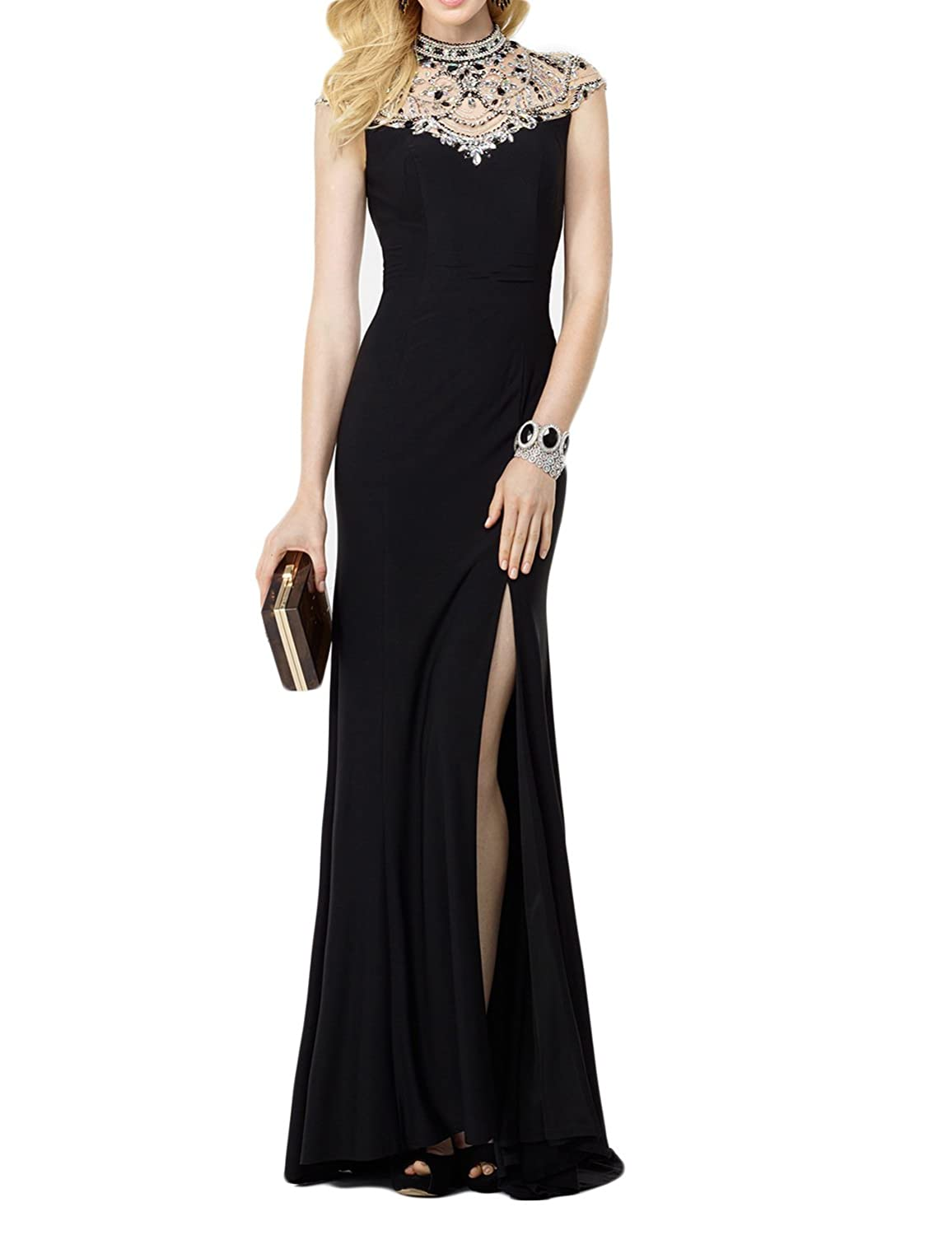 Muisal Women's High Neck Open Back Beading Long Evening Party Dresses with High Side Split N-EV10