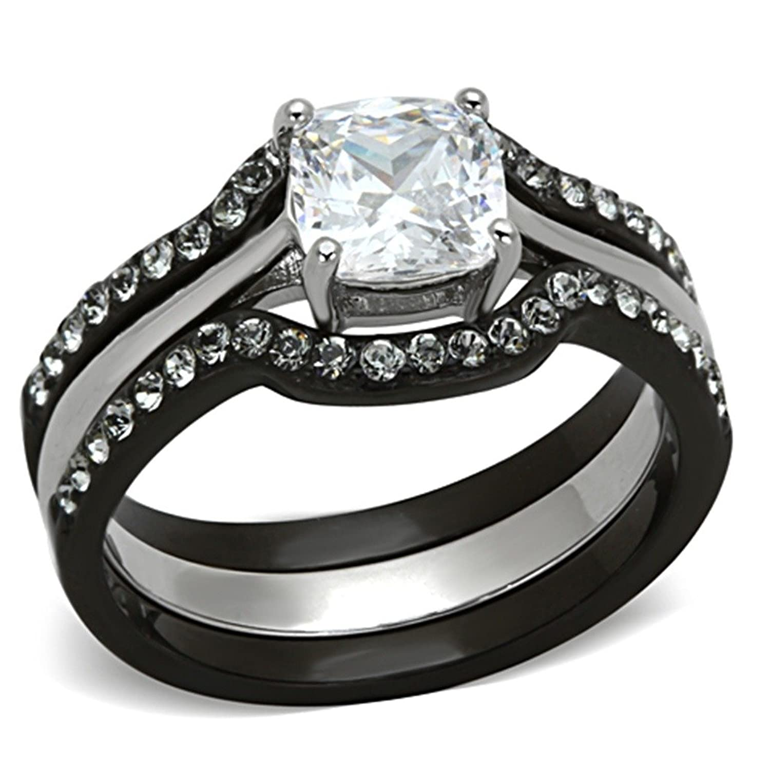 Amazon His & Hers 4 PCS Black IP Stainless Steel CZ Wedding