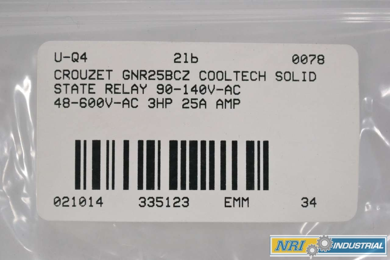 Crouzet Gnr25bcz Cooltech Solid State Relay 90 140v Ac 48 600v 3hp B335123 Industrial Scientific