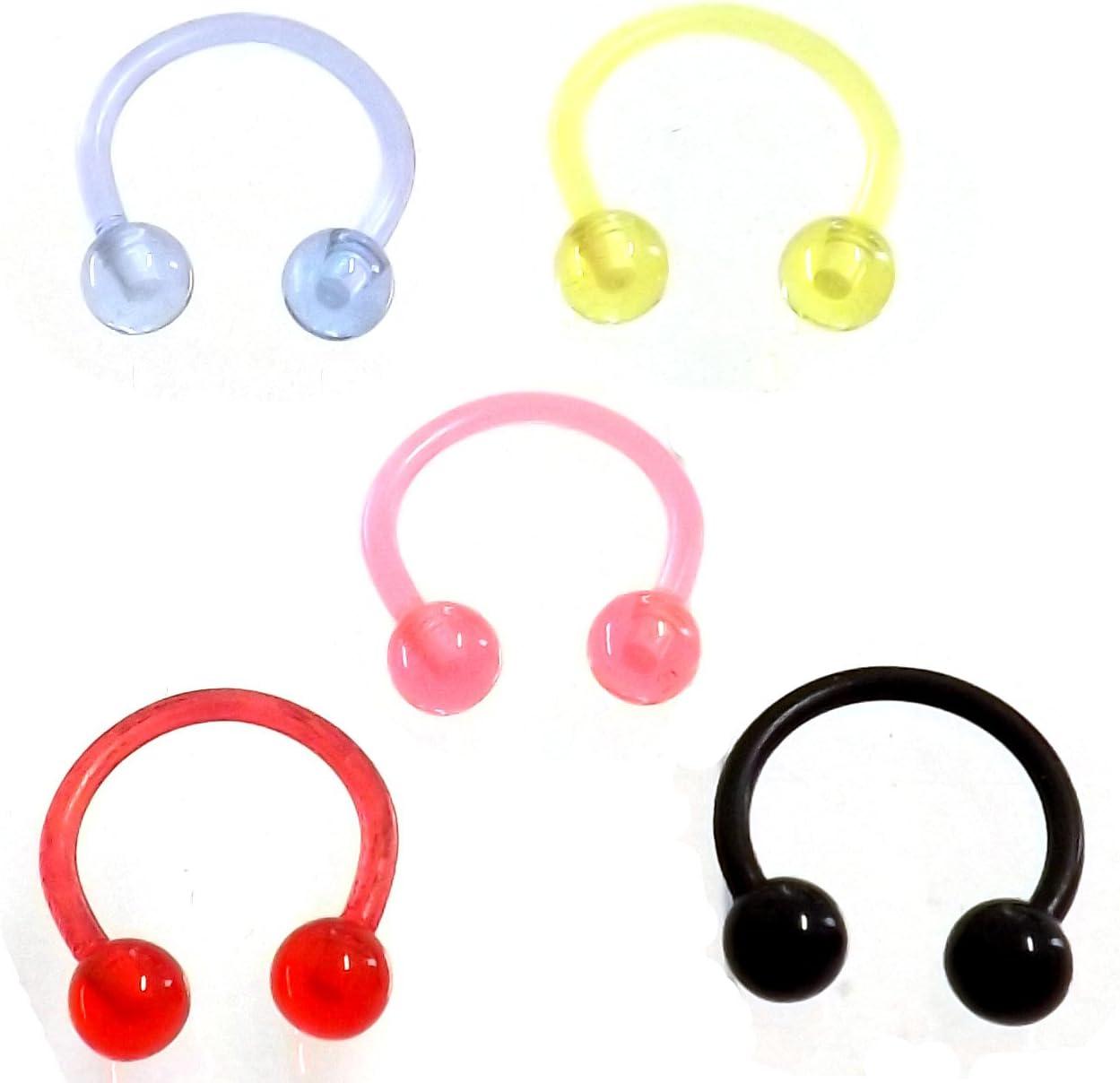 5 Pack Piercing Herradura Bioflex/PTFE Multicolor 1,2 o 1,6 con ...