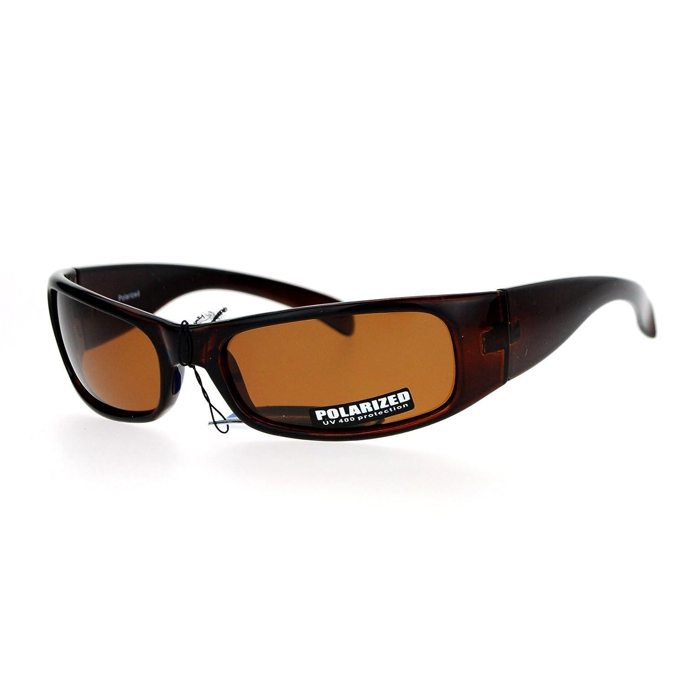 c6a693beb0 Amazon.com  SA106 Polarized Anti-Glare Mens Narrow Rectangular Warp Biker  Sunglasses All Black  Clothing