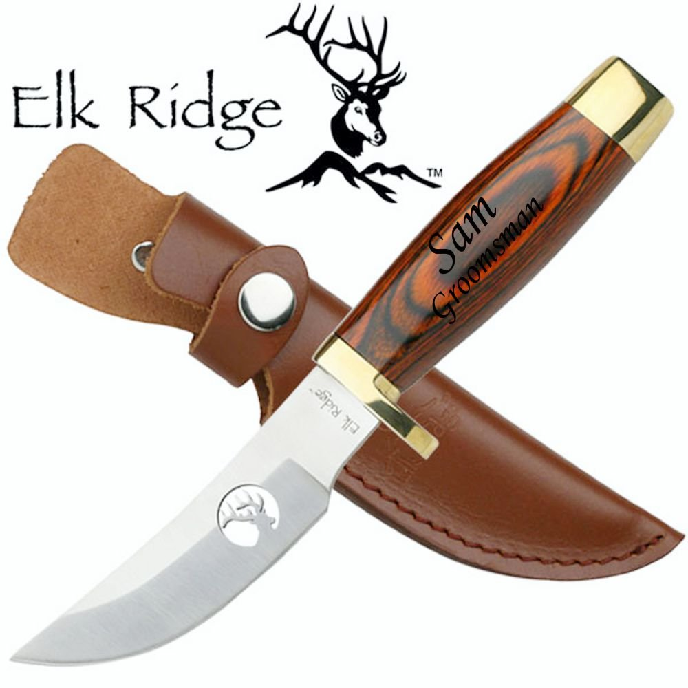 Re Personalized Free Engraving Quality Elk Ridge Knife with Wood Handle (ER-050)