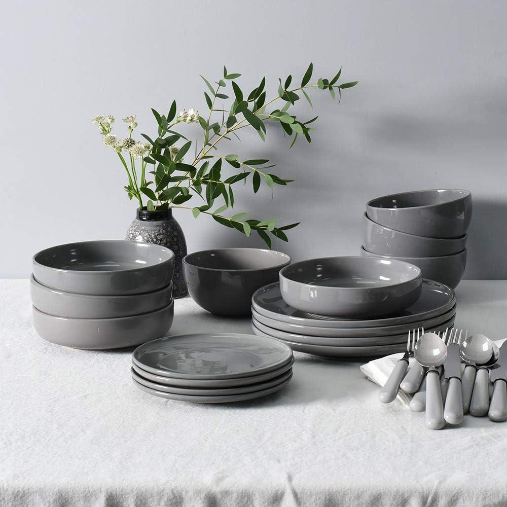 schiefergrau Stilvoll und best/ändig im skandinavischen Stil Geschirrset 12-teiliges Set ProCook Stockholm Steinzeug Tafelservice