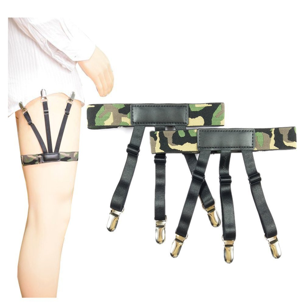 Jelinda Side Fixing Adjustable Shirt Stay Garters with Non-slip Locking Clamps Metal 4 One Size SPJA-WF-H032-MC-NO2